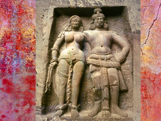 D'après un couple sculptés de Karlî, façade du temple rupestre, D'après un couple sculptés, façade du temple de Karlî, fin du Ier siècle apjc- IIe siècle apjc, Mahârâsthra, Inde du Sud. (Marsailly/Blogostelle)