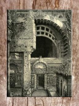 D'après un dessin ancien de l'entrée du temple de Karlî, porte et fenêtre, fin du Ier siècle apjc- IIe siècle apjc, Mahârâsthra, Sud, Inde ancienne. (Marsailly/Blogostelle)