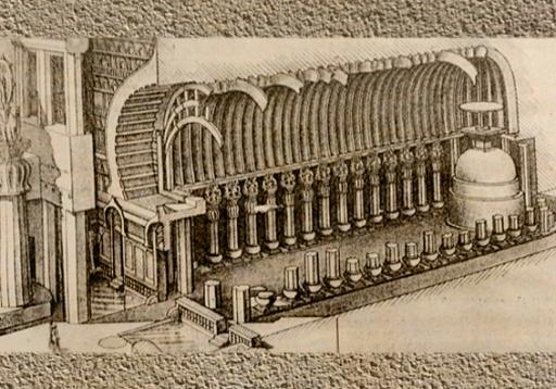 D'après un schéma du temple rupestre de Karlî avec, fin du Ier siècle apjc- IIe siècle apjc, Mahârâsthra,Sud, Inde ancienne. (Marsailly/Blogostelle)