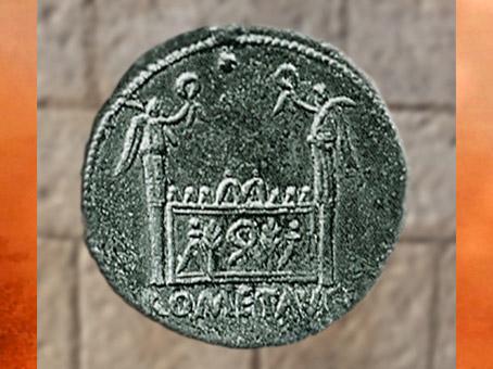 D'après une monnaie de l'atelier impérial de Lyon, l'autel du culte de Rome et d'Auguste, Gaule Romaine. (Marsailly/Blogostelle