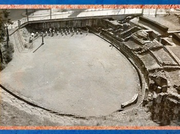 D'après les vestiges restaurés de l'Amphitéâtre de Lutèce, Paris, France, Gaule Romaine. (Marsailly/Blogostelle)