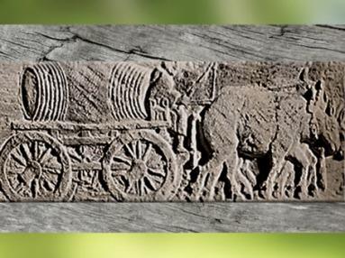 D'après un chariot de transport, avec un grand tonneau de vendanges et mulets, bas-relief, Langres, Haute-Marne Gaule Romaine. (Marsailly-Blogostelle)