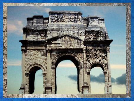 D'après l'Arc de Triomphe d'Orange, Ier siècle apjc, Gaule Romaine, France. (Marsailly/Blogostelle)