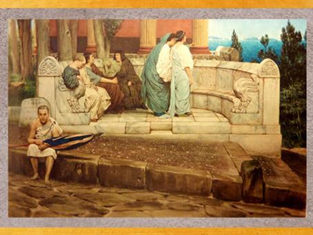 D'après un banc-exèdre, peinture de Lawrence Alma-Tadema, 1871, artiste anglais, XIXe siècle. (Marsailly/Blogostelle)