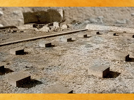 D'après les vestiges de la basilique de Laudun, centre administratif et tribunal dans l'antiquité, Ier siècle apjc, Gaule Romaine, Gard, France. (Marsailly/Blogostelle)