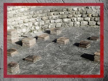 D'après les vestiges du Fâ de Barzan, thermes, système de chauffe, IIe siècle apjc, Gaule Romaine, Charente-Maritime, France. (Marsailly/Blogostelle)