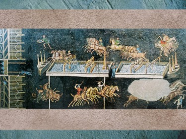 D'après une mosaïque, course de chars, parcours et obélisque, Lyon, vallée du Rhône, France, Gaule Romaine. (Marsailly/Blogostelle)