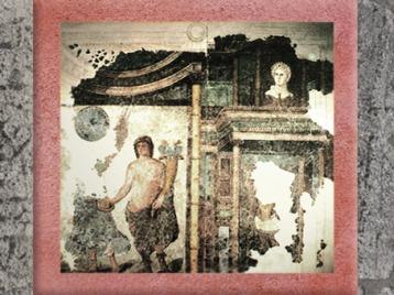 D'après une peinture murale, scène de culte et divinités, IIe siècle apjc, Narbonne, Languedoc-Roussillon, Gaule Romaine, France. (Marsailly/Blogostelle)