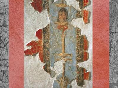 D'après une peinture murale sur le thème du masque et du théâtre, milieu du Ier siècle apjc (vers 50-60 apjc), Aix en Provence, Gaule Romaine. (Marsailly/Blogostelle)