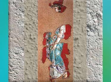 D'après une peinture murale, motif de muse, début du Ier siècle apjc, Lyon, Rhône, France, Gaule Romaine. (Marsailly/Blogostelle)