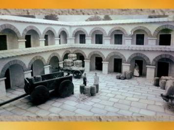 D'après le site du Fâ de Barzan, IIe siècle apjc, maquette, place et arcades, Charente Maritime ; France, Gaule Romaine. (Marsailly/Blogostelle)