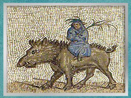 D'après l'Hiver, mosaïque Saint-Romain-en-Gal, IIIe siècle apjc, Vienne, Rhône-Alpes, Gaule Romaine. (Marsailly/Blogostelle)