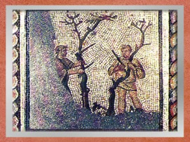 D'après la greffe des arbres, mosaïque Saint-Romain-en-Gal, IIIe siècle apjc, Vienne, Rhône-Alpes, Gaule Romaine. (Marsailly/Blogostelle)