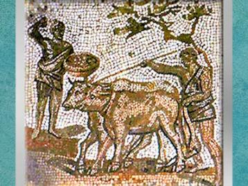 D'après le labourage, mosaïque Saint-Romain-en-Gal, IIIe siècle apjc, Gaule Romaine. (Marsailly/Blogostelle)