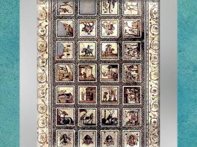 D'après une vue d'ensemble de la mosaïque de Saint-Romain-du-Gal, début du IIIe siècle apjc, Rhône, France,Gaule Romaine. (Marsailly/Blogostelle)