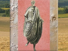 D'après Caius Julius Pacatianus en toge, notable romain, bronze, Vienne, Isère, IIe siècle apjc, Gaule Romaine. (Marsailly/Blogostelle)