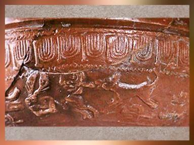 D'après une céramique sigillée, scène de chasse, Gaule Romaine, Ier -IVe siècle apjc, France. (Marsailly/Blogostelle)