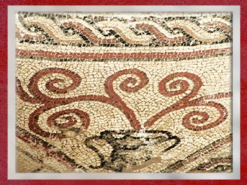 D'après un motif floral, mosaïque, villa Plassac, Gironde, Ier-IVe siècle apjc, Gaule Romaine. (Marsailly/Blogostelle)