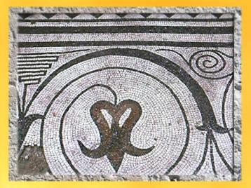 D'après une frise végétale, mosaïque, Besançon, Ier -IVe siècle apjc, Gaule Romaine. (Marsailly/Blogostelle)