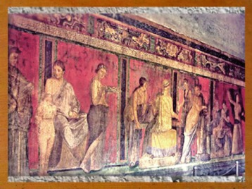 D'après la villa des Mystères, décor peint, Pompéi, Italie, art romain. (Marsailly/Blogostelle)