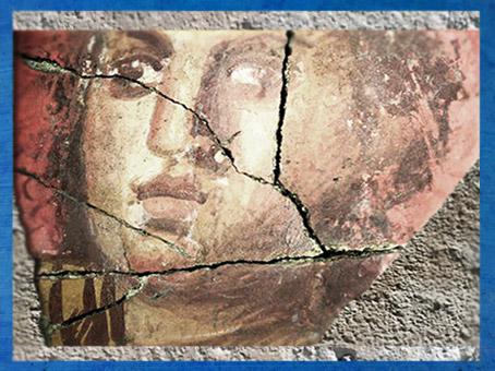 D'après le décor d'une riche villa, visage féminin, Arles antique, vers Ier siècle avjc, Gaule Romaine. (Marsailly/Blogostelle)