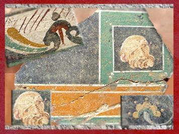 D'après des décors à la fresque : motif floral, masques, villa d'Embourie, vers IVe siècle apjc, Charente, France,Gaule Romaine. (Marsailly/Blogostelle)