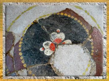 D'après des éléments de décor, enduit peint, villa de Plassac, Ier - début Ve siècle apjc, Gironde, France, Gaule Romaine. (Marsailly/Blogostelle)