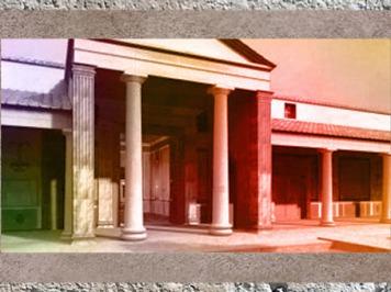 D'après la villa de Plassac, maquette, façade, Ier - début Ve siècle apjc, Gironde, France,Gaule Romaine. (Marsailly/Blogostelle)