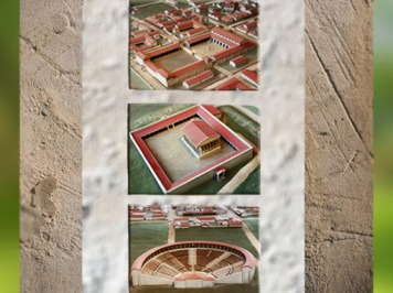 D'après la maquette de la ville antique fortifiée Noviodunum, Jublains, Pays-de-la-Loire, France,Gaule Romaine. (Marsailly/Blogostelle)