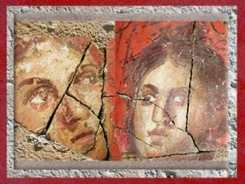 D'après les visages du décor à la fresque d'une villa, Ier siècle avjc, Arles antique,France,Gaule Romaine. (Marsailly/Blogostelle)