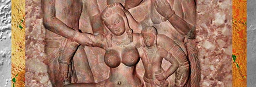D'après une gracieuse jeune femme et sa servante, dynastie Kushana, image de une. (Marsailly/Blogostelle)