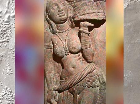 D'après une jeune femme au plateau, vers IIe siècle apjc, dynastie Kushâna, école de Mathurâ, Uttar Pradesh, Inde du Nord. (Marsailly/Blogostelle)