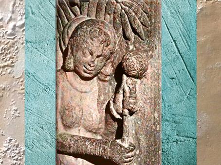 D'après un relief, dit Fleur de Sal, époque Kushana, vers IIe siècle apjc, école de Mathurâ, Uttar Pradesh, Inde du Nord. (Marsailly/Blogostelle)
