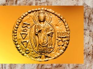 D'après Buddha auréolé, monnaie en or de l'empereur Kanishka,Ier -IIe siècle apjc, dynastie Kushâna, Inde ancienne. (Marsailly/Blogostelle)