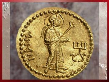 D'après la déesse mésopotamienne Innana, au revers, monnaie en or de l'empereur Kanishka, Ie-IIe siècle apjc, période de la dynastie Kushâna, Inde du Nord. (Marsailly/Blogostelle)