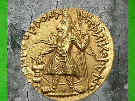 D'après l'empereur Kanishka, au verso, monnaie en or, Ie-IIe siècle apjc, période de la dynastie Kushâna, Inde du Nord. (Marsailly/Blogostelle)