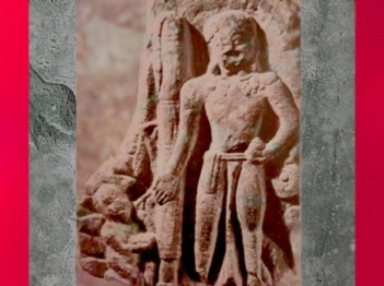 D'après le dieu hindou Vishnu, sculpture de l'école de Mathurâ, Ier-IIe siècle apjc, dynastie Kushâna, Uttar Pradesh, Inde du Nord. (Marsailly/Blogostelle)