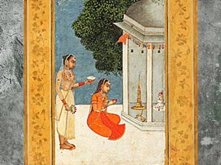 D'après une scène de culte du Linga, Bhairavi (sanskrit Celle de Bhaivara), manuscrit, école Moghole, peut-être du XVIIIe siècle, Inde ancienne. (Marsailly/Blogostelle)