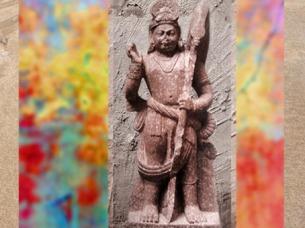 D'après le dieuSkandachef des armées divines,Kârttikeya, Ier siècle apjc, école de Mathurâ, Uttar Pradesh, Inde ancienne du Nord. (Marsailly/Blogostelle)