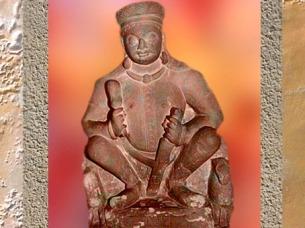 D'après Sûrya, dieu Soleil, dynastie Kushâna, Ier siècle-IIe siècle apjc, école de Mathurâ,Uttar Pradesh,Inde ancienne du Nord. (Marsailly/Blogostelle)
