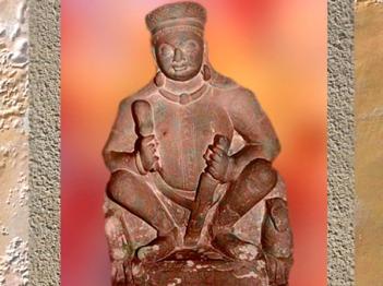 D'après Sûrya, dieu Soleil, dynastie Kushâna, Ier siècle-IIe siècle apjc, école de Mathurâ,Uttar Pradesh,Inde du Nord. (Marsailly/Blogostelle)