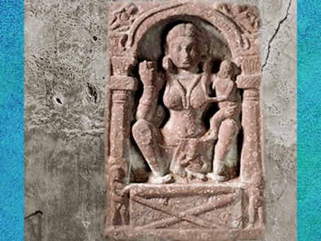D'après la déesse Hâritî de la fécondité, et protectrice des enfants, vers Ier-IIIe siècle, période Kushâna, Inde du Nord. (Marsailly/Blogostelle)