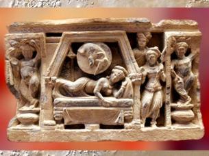 D'après un relief de stûpa, le Rêve de Mâya, mère du Buddha, vers II-IIIe siècle apjc, période Kushâna, Inde. (Marsailly/Blogostelle)