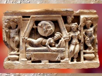 D'après un relief de stûpa, le Rêve de Mâya, mère du Buddha, vers II-IIIe siècle apjc, période Kushâna, Inde ancienne. (Marsailly/Blogostelle)