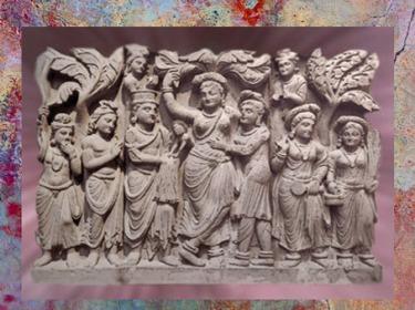 D'après La Reine Maya et la naissance du Buddha, relief de stûpa, IIe-IIIe siècle apjc, dynastie Kushâna, style du Gandhara, actuel Pakistan. (Marsailly/Blogostelle)
