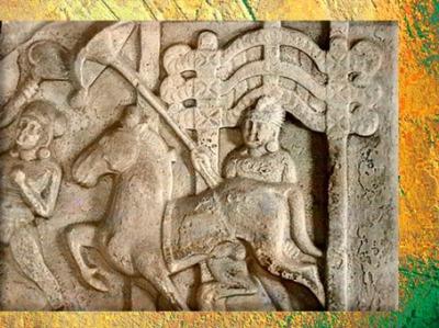 D'après une évocation du thème du Grand Départ (détail), serviteur, parasol et cheval, école d'Amaravatî, Ier siècle apjc, dynastie Sâtavâhana, Andhra Pradesh, Inde du Sud. (Marsailly/Blogostelle)