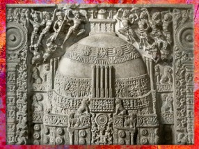 D'après un stûpa sculpté, IIe-IIIe siècle apjc, école d'Amaravatî, époque Sâtavahâna, Andhra Pradesh, Inde du Sud. (Marsailly/Blogostelle)