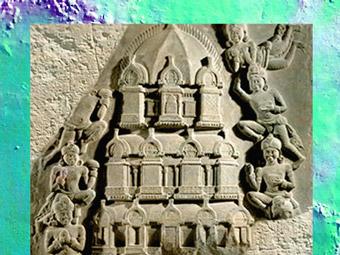 D'après une Tour bouddhique, relief en marbre blanc, école d'Amaravatî, fin Ier siècle apjc - début IIe siècle apjc, dynastie Sâtavâhana, Andhra Pradesh, Inde du Sud. (Marsailly/Blogostelle)