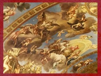 D'après Le char solaire d'Apollon, fresque de François Perrier,Galerie Dorée, Hôtel de La Vrillière-Toulouse, Paris, France, XVIIe siècle. (Marsailly/Blogostelle)