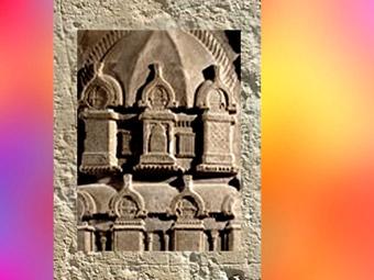 D'après une tour bouddhique, détail : stûpa miniature sous le dôme, Ier-IIe siècle apjc ;école d'Amaravatî, dynastie Sâtavâhana, Andhra Pradesh, Inde du Sud. (Marsailly/Blogostelle)